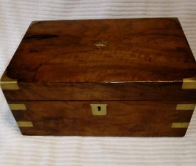 Antique Victorian Walnut Writing Box Slope w/ Brass Hardware Large