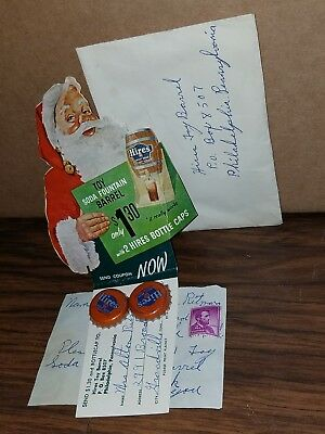 Vintage Hires Root Beer toy barrel coupon Advertising Santa Claus mail in offer