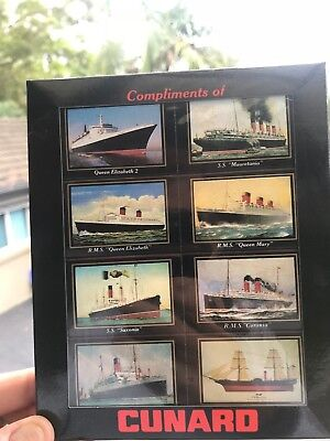 Rare Cunard Cruise Line Ships Wooden Matches Box Pack Of 8 - QE2 / Queen Mary
