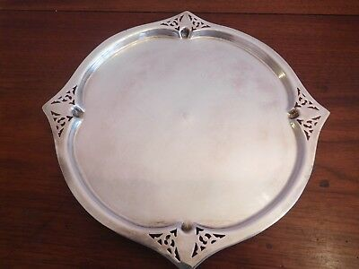 Antique Victorian   Silver Plate 1900 Filigree Cake/ Cheese Tray/plate