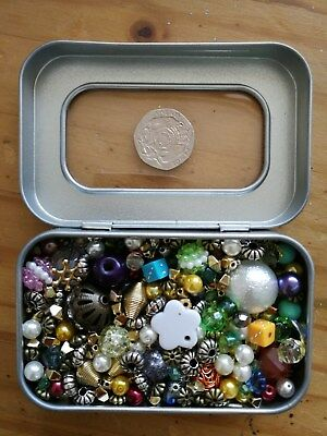 Job lot of mixed beads for jewellry making, earrings, necklaces, bracelets 100g