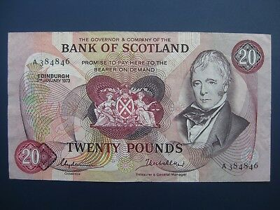 Scarce Early Date 1973 Bank Of Scotland £20 Banknote Crisp Vf