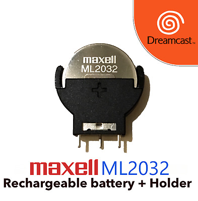 Maxell ML2032 and Battery Holder Dreamcast replacement battery Free shipping!