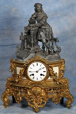 French Empire Figural Artist Statue Gilded Bronze Clock Early 1800s by Vincenti