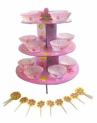 3 Tier Cake Stand 24 Cupcakes Cases Holder Pick Toppers Set Girls Pink Cardboard