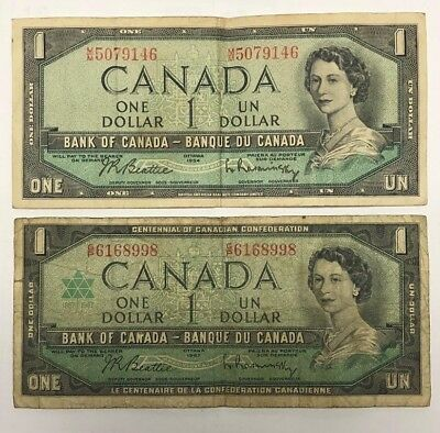 lot (2) 1954, 1967 BANK OF CANADA ONE 1 DOLLAR BANK NOTE HF 1707146 NICE BILL dc