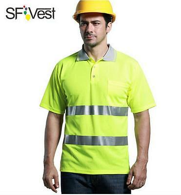 Reflective Strip Safety T-shirt Vest Mens Work Top Security Polo Short Sleeve
