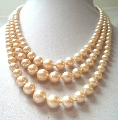"Stunning Vintage Estate Ind Knotted Glass Faux Pearl 18"" Necklace!!!! 9634L"