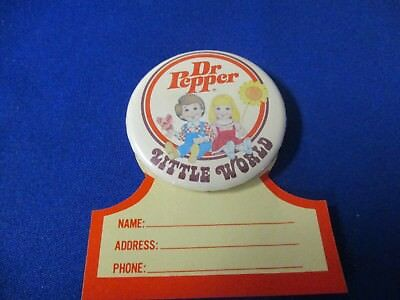 """Dr Pepper """"little World"""" Button With Name Tag From The 1950's"""