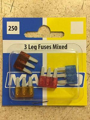 New Pack Of 4 Mixed  5,7.5,10,15, Amp 3 Leg Micro Mini Blades 3 Blade Fuse Car