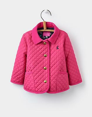 Joules Mabel Classic Quilted Jacket with Cord Trims in Bright Pink