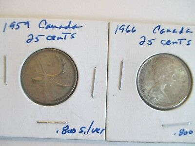 1959 & 1966 Canadian Silver Quarters