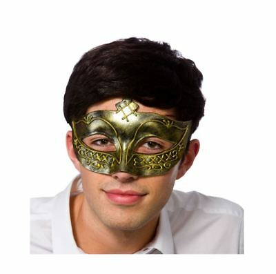 Mens DELUXE Masquerade Eye Mask Antique Gold Fancy Dress Gladiator Halloween