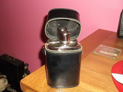Vintage Two Glass Hip Flasks Black Leather Real Hide Zipped Case Cup Lids