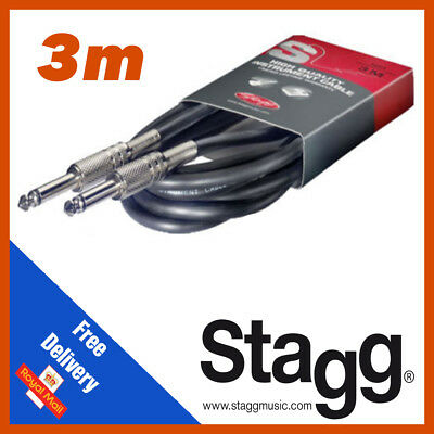 Stagg High Quality Guitar Instrument Cable Lead 3m 10 Feet Phono SGC3