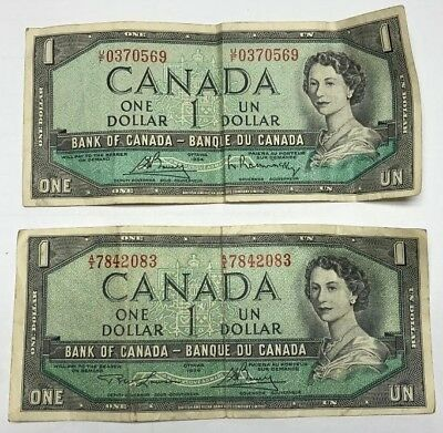 LOT OF 2 1954 BANK OF CANADA ONE 1 DOLLAR BANK NOTES NICE BILLS  dc