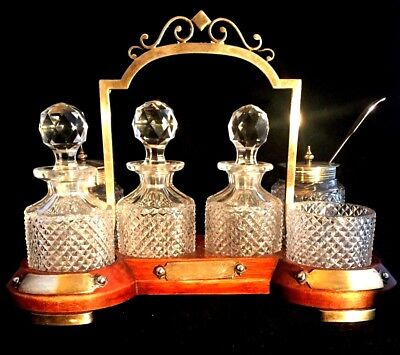 Antique Cut Crystal English Cruet Set - Butlers Tray In Oak & Silver