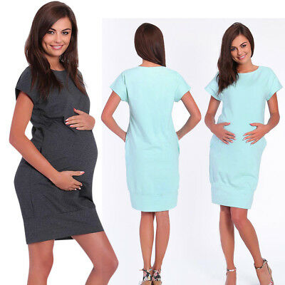 Women Short Sleeve Nurse Pregnant Maternity Dress Mother Pocket Summer Sundress