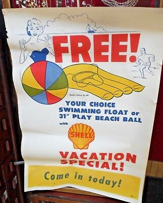 MCM Shell Oil Gas Station Poster Free Beach Ball Float Large 47 x 32 Poster Ad