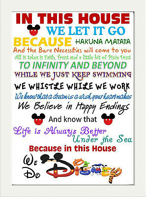 Inspirational Quote Walt Disney In This House Print Home Wall Pop Art