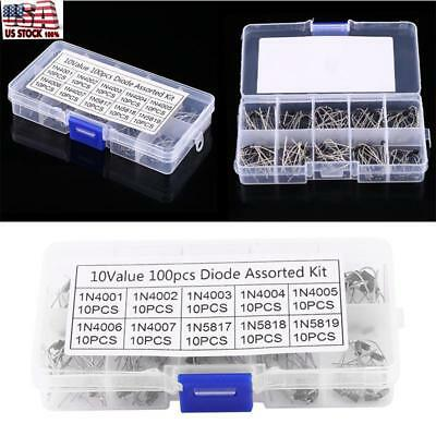 100pcs 10Values Rectifier Diode Assortment Electronic Kit 1N4001~1N4007 US