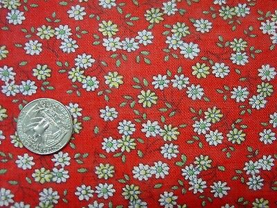 """Vintage Feedsack Fabric Lg. 36 x 49"""" Red Background, Little White Daisies"""