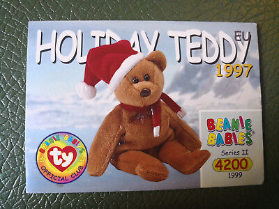 TY Beanie Babies BBOC Card - Series 2 Common - 1997 HOLIDAY TEDDY