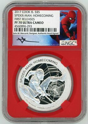 2017 $5 Marvel Spider-Man Homecoming 1oz Silver NGC PF70 MERCANTI FIRST RELEASES