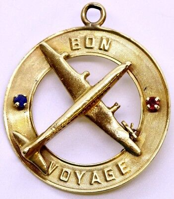 14K Solid Yellow Gold Ruby & Sapphire Bon Voyage Best of Luck Airplane Charm