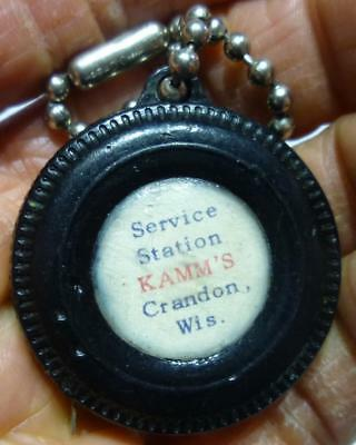 Vintage Tire Shaped Tape Measure from Service Station Kamm's Crandon, Wis.