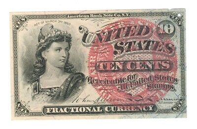 10¢ U.S. FRACTIONAL CURRENCY NOTE - FOURTH ISSUE - CATALOG #1259 - XF to AU