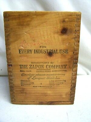 Vintage The Zapon Co. Lacquer Finishes New York Wooden Advertising Crate Box