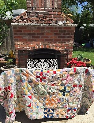 """Antique Patchwork Quilt- """"Cross"""" Pattern Colorful Fabric Early 1900s"""