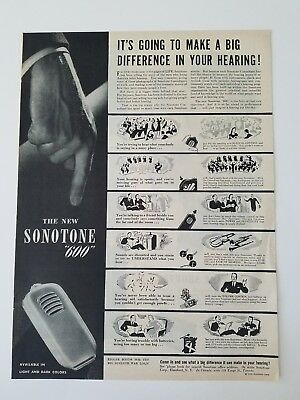 1945 Sonotone 600 hearing aid it's going to make a big difference ad