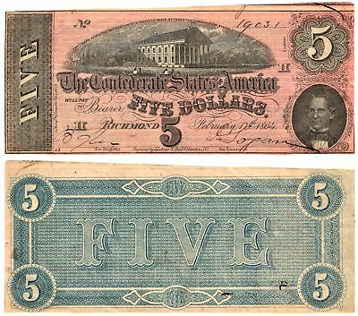 1864 $5 The Confederate States of America CAPITOL OF RICHMOND Note T-69 F/VF