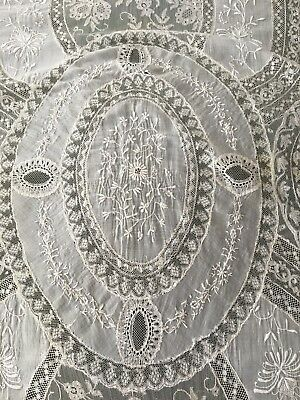 Antique Best & Co Lilliputian Bazaar French Handmade Lace Coverlet Tablecloth