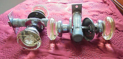 Two Pair of Vintage Glass Door Knobs with Hardware