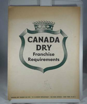 Vintage 1950s-60s Canada Dry Franchise Requirements Brochure Ginger Ale