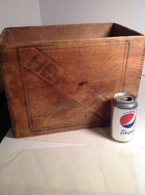 Antique Wooden Advertising Shipping Crate Tea Vintage He-No Tea Wood Wooden