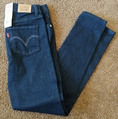 12a295c1 New Youth Girls 10 Levis Levi Strauss 710 Super Skinny Dark Blue Sparkle  Jeans