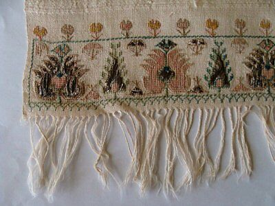 RARE Antique Turkish Ottoman Hand Embroidered Towel METALLIC SILVER Embroidery