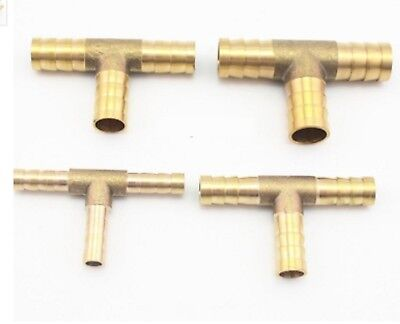 6mm 8mm 10mm 12 16mm 19mm Brass T Hose Barb Tail Tee Connector Fitting Water Air