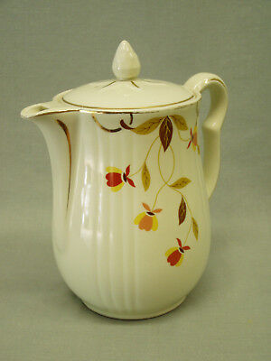 Vintage Hall China Coffee Pot Jewel Tea Autumn Leaf rayed 8 cup teapot 1937-76