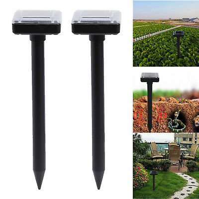 Solar Power Ultrasonic Garden Yard Sonic Vole Pest Rat Mouse Snake Repeller 2pcs