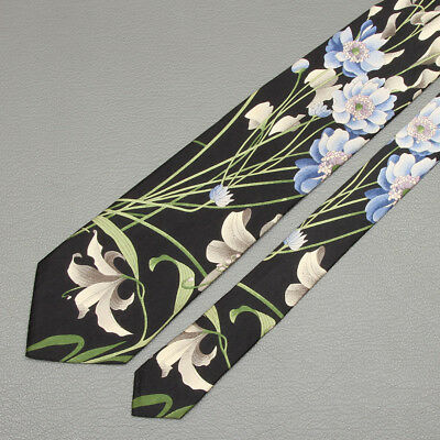 LEONARD TIE Floral on Black Classic Silk Necktie
