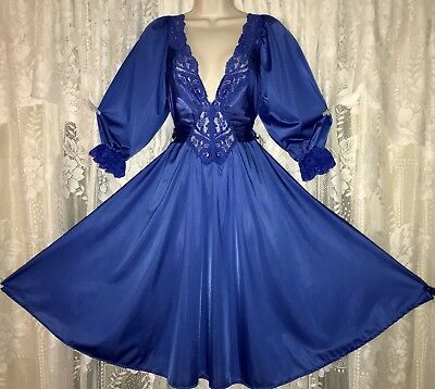VTG RARE Sapphire Blue OLGA Knee Length Nightgown Negligee Gown 3/4 Sleeves L XL