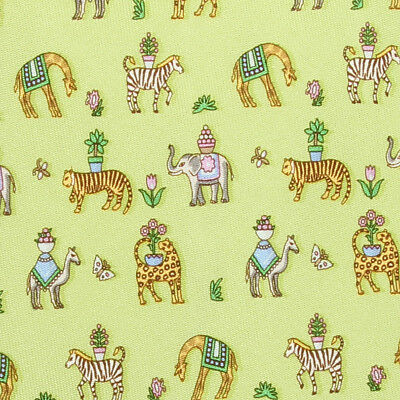 SALVATORE FERRAGAMO TIE Animals on Yellow Green Classic Silk Necktie