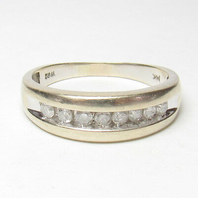 Mens Estate 14K White Gold Eight Brilliant Cut Diamond Band Style Ring 0.40 Cts