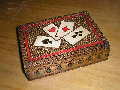 Smart Vintage Woodenware CARVED PLAYING CARDS BOX Painted RED.GREEN.BLACK & GOLD