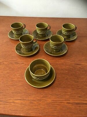 Beswick 5 x Olive Green Coffee cups & Saucers Plus Sugar Bowl - Vintage